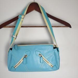 90s Danier blue leather shoulder bag
